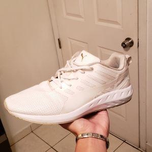 Puma white/gold shoes men's 9.5
